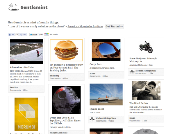 screenshot of Gentlemint site